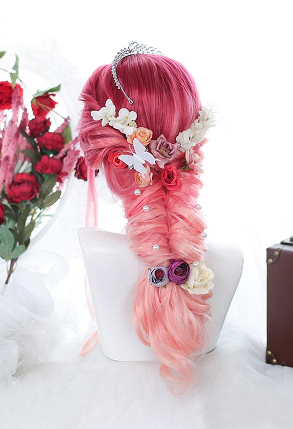 Lolita Gradient Mischfarbe Rot und Rosa Lange Lockige Harajuku Cospaly Perücke mit Pony