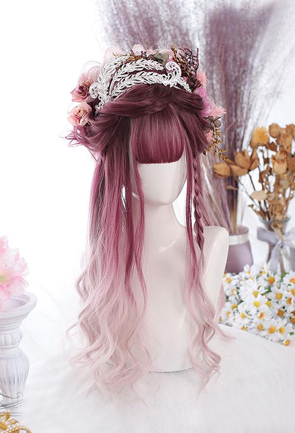 Lolita Gradient Mischfarbe Lange Lockige Harajuku Cospaly Perücke mit Pony