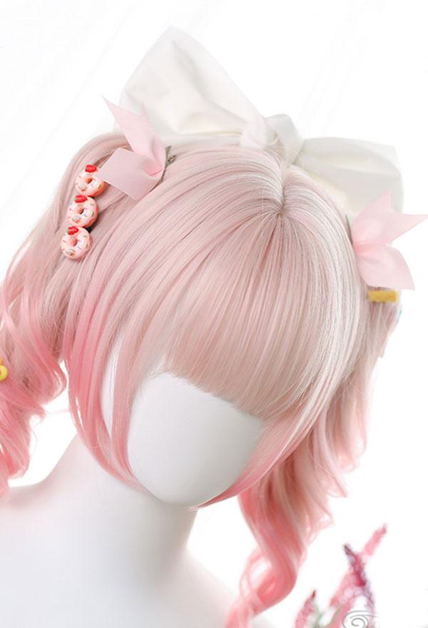 Lolita Gradient Mischfarbe Lockige Harajuku Cospaly Perücke mit Doppelter Pferdeschwanz