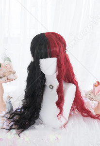Halloween Cosplay Witch Gothic Loli Wig Black Red Gradient Color Wig Long Curly Wig