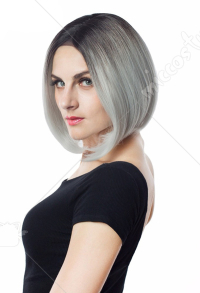 Halloween Cosplay Witch Cosplay Wig Black Grey Gradient Color Party Bob Wig