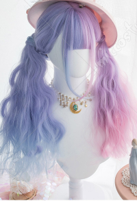 Halloween Cosplay Fairy Unicorn Cosplay Wig Pink Purple Gradient Color Wig Harajuku Long Curly Wig