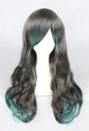 Halloween Cosplay Corpse Bride Cosplay Wig Party Wig Grey Green Gradient Color Long Curly Wig