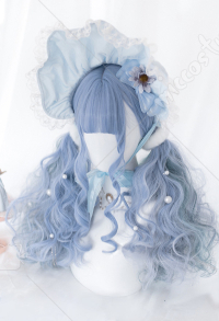 Halloween Blueberry Little Fairy Elf Rolling Waves Long Hair Mixed Color Gray Blue Cosplay Harajuku Wig