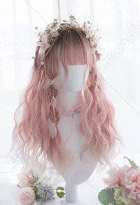 Halloween Little Fairy Elf Rolling Waves Long Hair Mixed Color Pink Gradient Cosplay Harajuku Wig