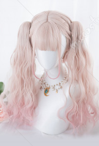 Halloween Little Witch Devil Sakura Pink Mixed Color Double Ponytails Gradient Cosplay Harajuku Wig