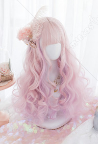 Halloween Unicorn Queen Rolling Waves Long Hair Pink Mixed Color Wig