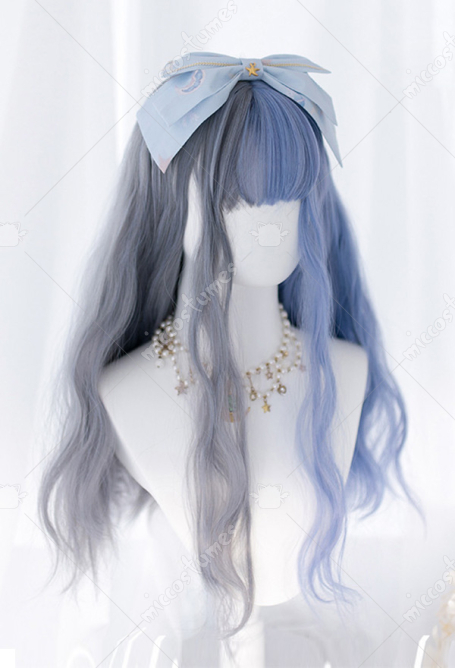 Halloween Lolita Witch Dream Mixed Color Long Curly Gray and Blue Cosplay Harajuku Wig