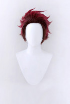 Kimetsu no Yaiba Kamado Tanjirou Chocolate Brown-Wine Red Short Cosplay Wig