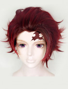 Kimetsu no Yaiba Kamado Tanjirou Chocolate Brown-Wine Red Short Cosplay Wig