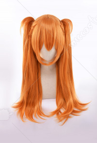 Neon Genesis Evangelion Asuka Langley Soryu Cosplay Wig Layered Orange Slight Curly Long Wig With Double Ponytail