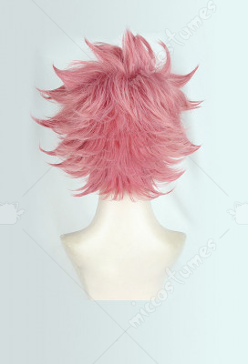 HOT Anime FAIRY TAIL Natsu Cosplay Plum Pink Short Hair Men/'s Party Daily Wigs