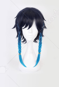 Genshin Impact Bards Venti Blue Gradient Mixed Color Short Cosplay Wig with Braid