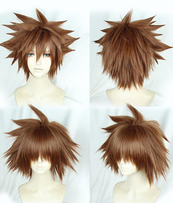 Kingdom Hearts III Sora Braun Explosive Kurze Cosplay Perücke