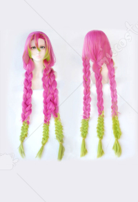 Kimetsu no Yaiba Kanroji Mitsuri Cosplay Pink Green Gradient Plus Thick Long Braid