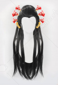 Demon Slayer Kimetsu no Yaiba Daki Black Long Straight Cosplay Wig