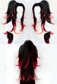 Demon Slayer Kimetsu no Yaiba Perruque de Cosplay Kokushibo Longue Couleur Dégradée Noir Rouge
