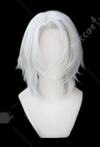 Demon Slayer Kimetsu no Yaiba Uzui Tengen Short Silver White Cosplay Wig