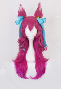 League of Legends Spirit Blossom Festival Ahri Cosplay Pink Long Wig with Hair Bows