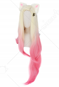 League of Legends KDA BADDEST New Skin 2020 Ahri Cosplay Long Gradient Wig with Ears