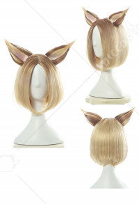League of Legends Cosplay KDA Ahri Prestige Edition Cosplay Wig Fake Ears Gold Bob Wig