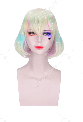 Land of the Lustrous Diamond Laser Colorful Short Curly Cosplay Wig