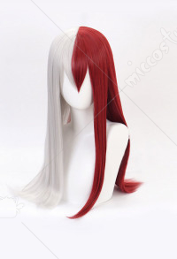 My Hero Academia Todoroki Shoto Mixed Red White Female Straight Long Cosplay Wig