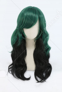 My Hero Academia Izuku Midoriya Deku Female Black and Green Long Curly Cosplay Wig
