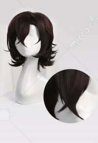 Bungo Stray Dogs Dazai Osamu Magzine Cover Dark Brown Short Curly Cosplay Wig