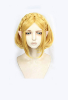 The Legend of Zelda Breath of The Wild Sequel Princess Zelda Cosplay Gold Short Bob Wig with Elf Ears