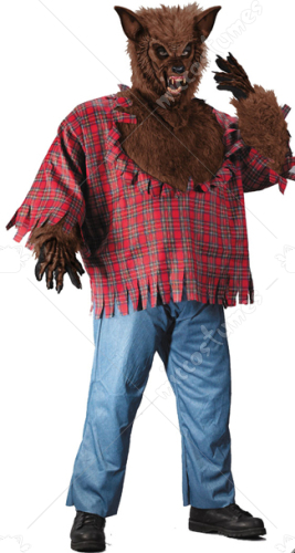 Werewolf Costume Plus Size Brown Adult Costume