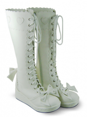 White Lace Up Bow Platform Leather Knee Boots
