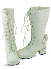 White Lace Up Thick Heel Platform Leather Knee Boots
