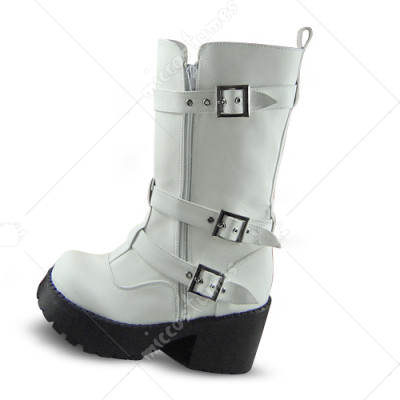 White Metal Buckle Zip Lolita Boots