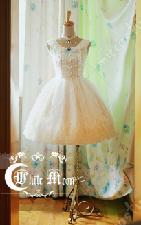 White Moon Embroidery Lace Lolita Dress