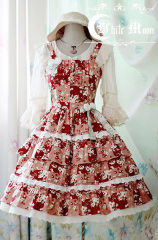 White Moon Strawberry Flower Plaid Dress