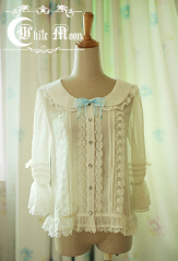 White Moon Chiffon Lolita Shirt Blouse Two Colors