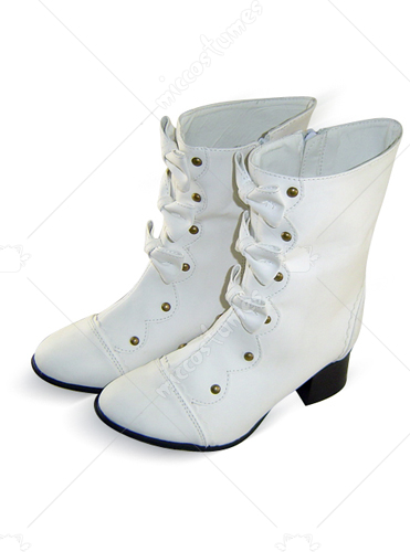 White Pointed Toe Bowknots Thick Heel Zipper Leather Boots