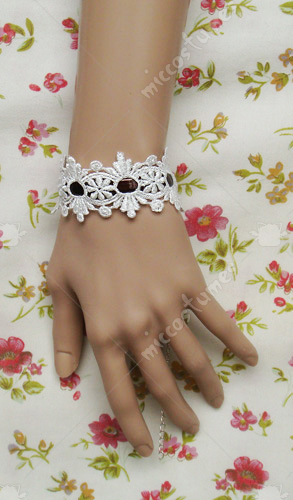 White and brown flower pattern lace lolita wrist band