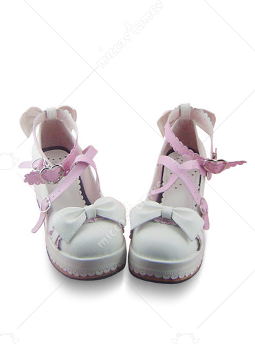 White and pink buckle bows leather platform