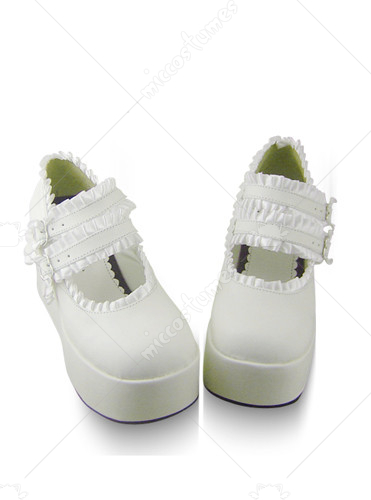 White elastic buckle wedge leather platform