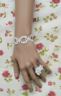 White hollow lace lolita wrist band