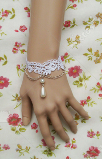 White lace with a white bead lolita wrist band