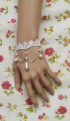 White lace with beadings lolita wrist band