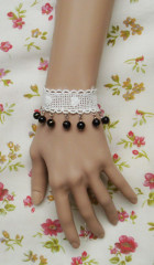 White lace with black beadings lolita wrist band
