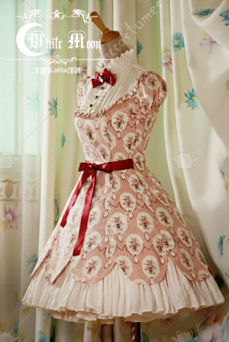 White moon one piece red ruffles lace lolita dress