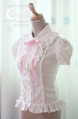 White moon white lapel short puffy sleeves lolita shirt
