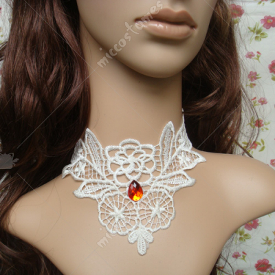 White rose lace with red diamond lolita necklace