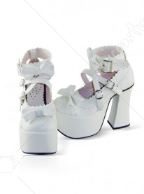 White thick heel buckle leather platform pump