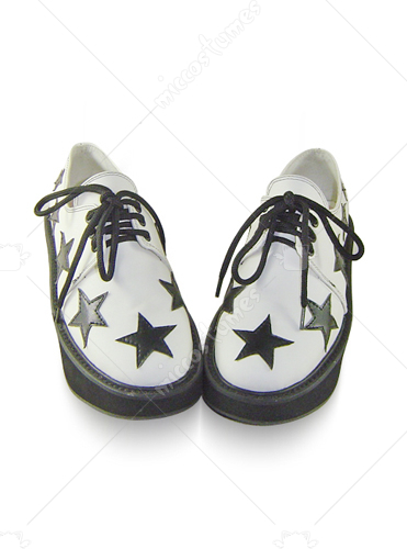 White with black stars leather platform